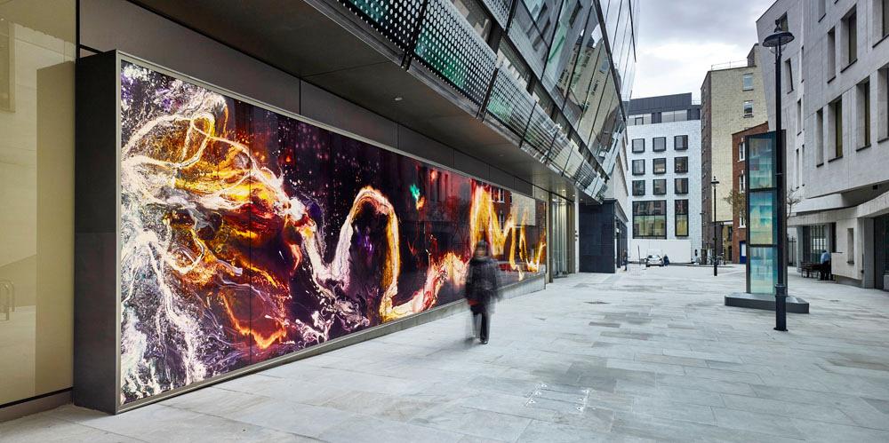 Exterior Back Lit PhotoGlassWork, 18m x 3m