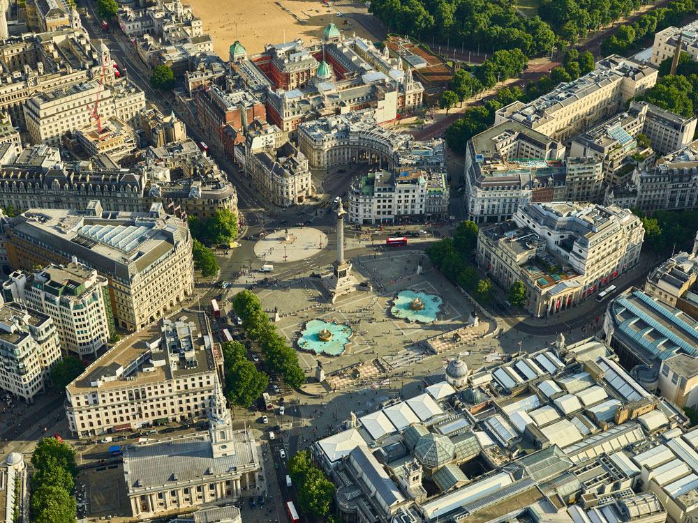 V11C4 Aerial View of Trafalgar Square, London