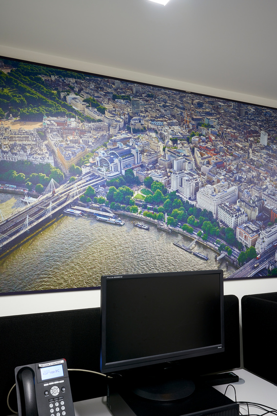 PhotoPanels 2.3m x 1m in Hot Desking Area - Super High Res Aerial Images of London