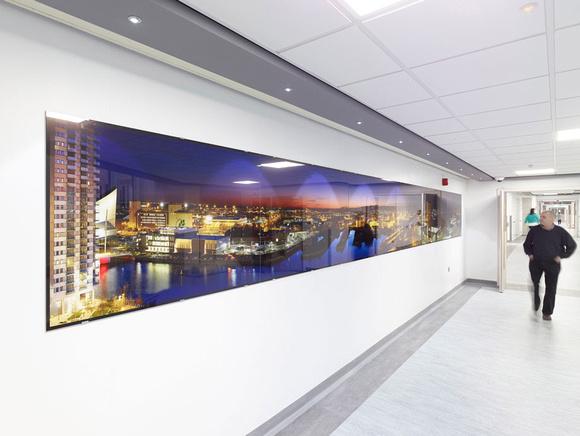 PhotoGlassWorks Front Lit, Hexaptych, 8.1m x 0.9m, Salford Royal Hospital