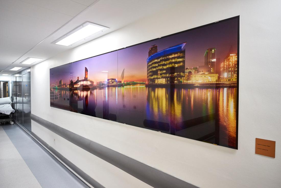 Salford Quays Dusk, PhotoGlassWorks Front Lit Triptych, 4.05m x 0.9m