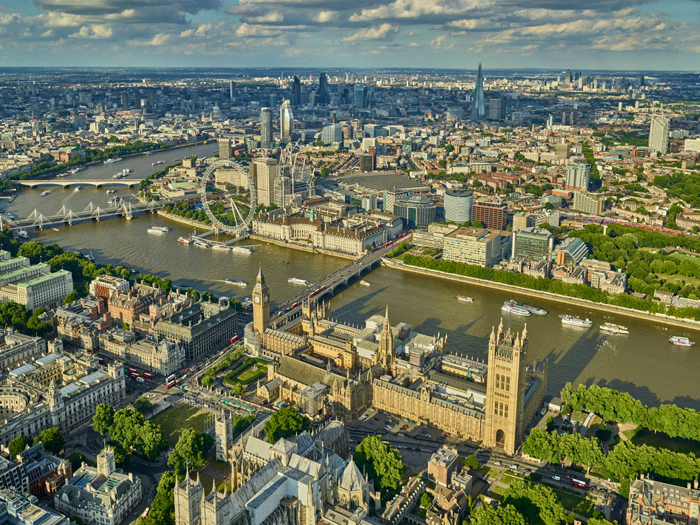V11C5 Aerial View of The Houses of Parliament and the Heart of London