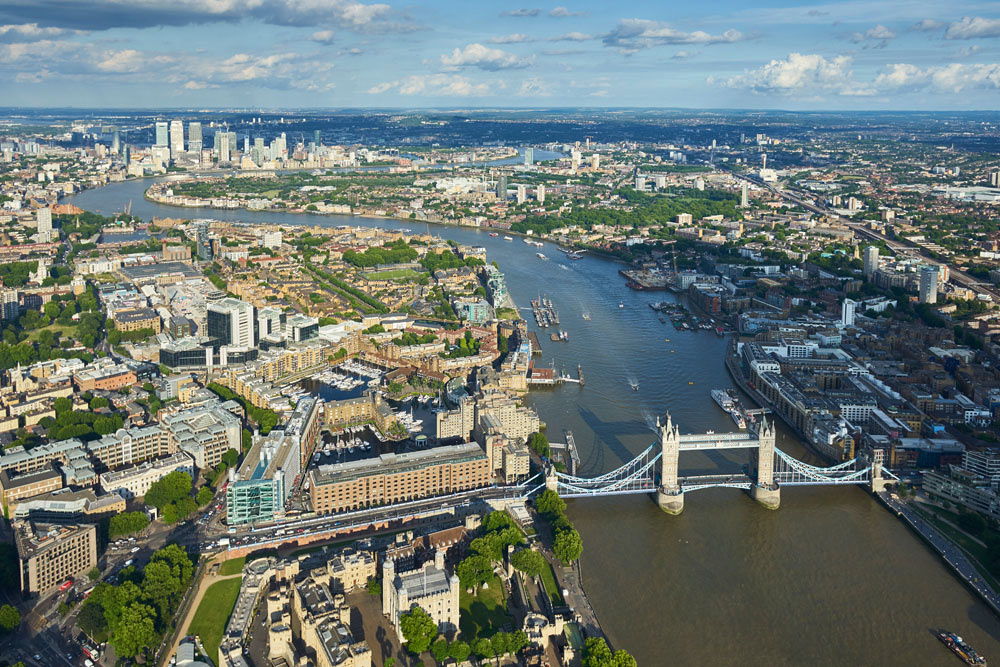 V11C24 Aerial View of Tower Bridge, London