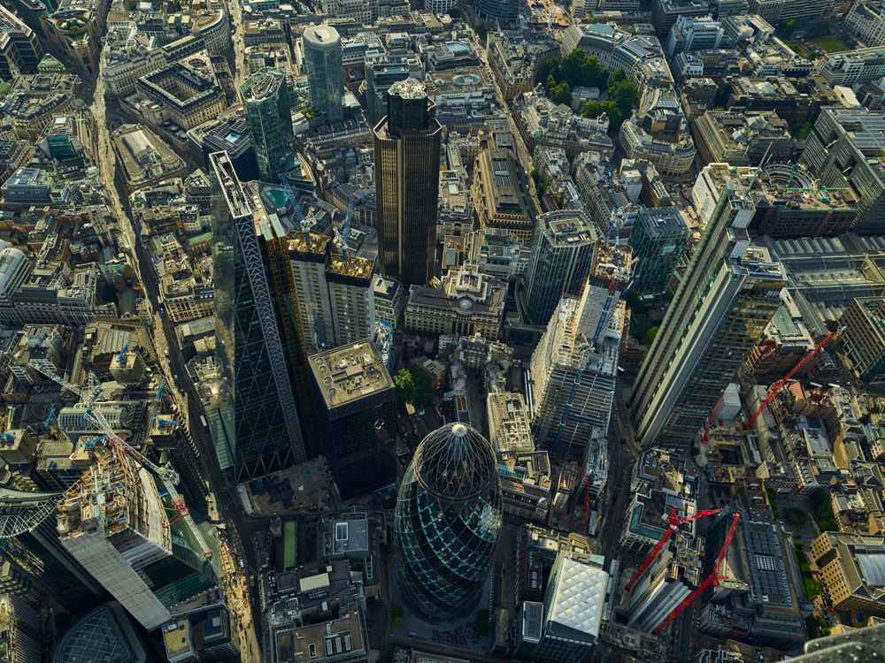 V11C3 Aerial View of The City of London, UK