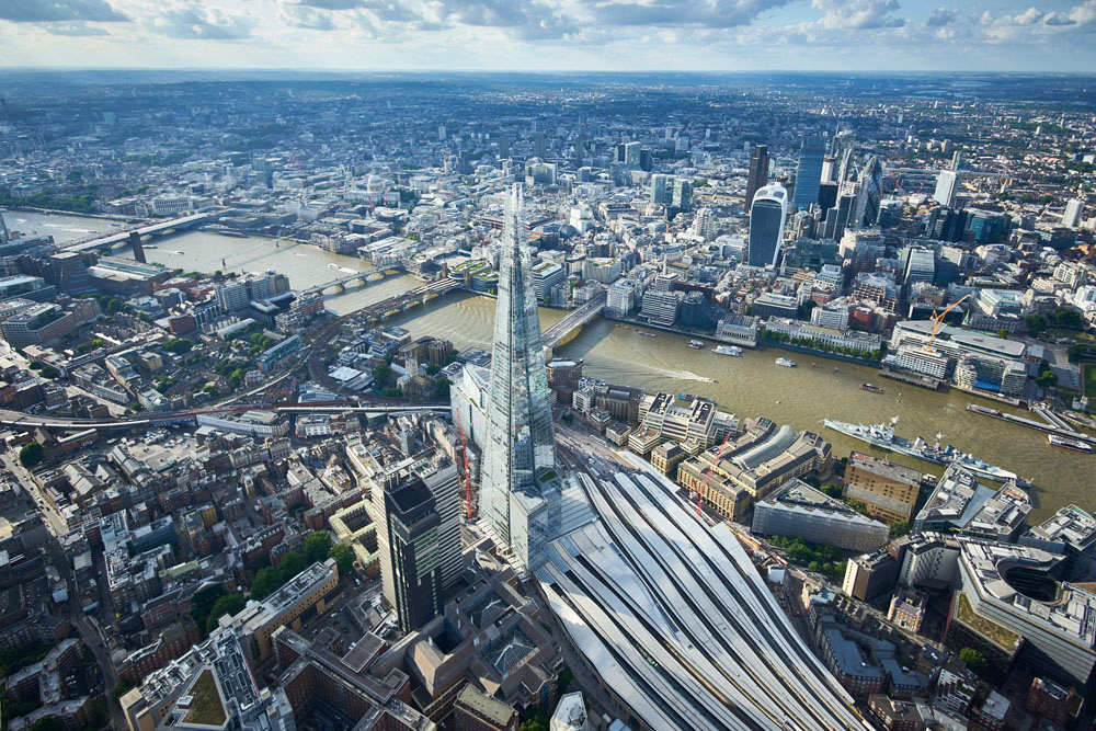 V11C9 Aerial View of The Shard and London Bridge Station, London